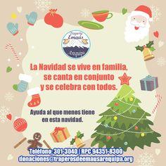 La Navidad se vive en familia, se canta en conjunto y se celebra con todos.  Ayuda al que menos tiene en esta navidad.  Estamos recepcionando apoyo de las empresas y público en general, para mayor coordinación llamar a los siguientes teléfonos y pasamos a recoger en casa o trabajo:  Teléfono: 301-3040 RPC: 943518300 RPM: #951401882 donaciones@traperosdeemausarequipa.org www.traperosdeemausarequipa.org