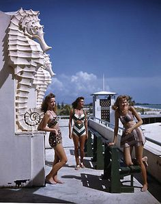 Young women at the municipal casino: Lido Beach, Florida: photo by Joseph Janney Steinmetz, c. Vintage Bathing Suits, Vintage Swimsuits, Vintage Florida, Old Florida, Florida Style, Sarasota Florida, Florida Keys, Beach Centerpieces, Lido Beach