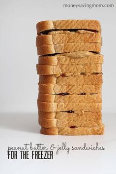 FREEZE EXTRAS: Freezer Peanut Butter and Jelly Sandwiches. Pinner says she shared lots of really simple, no-brainer tips here over the years, but she thinks this might qualify as just about the most basic of ideas Make Ahead Freezer Meals, Freezer Cooking, Frugal Meals, Kids Meals, Freezer Recipes, Budget Recipes, Cooking Tips, Pb And J Sandwiches, Sandwich Day