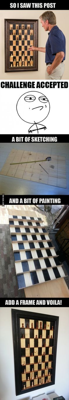 More memes, funny videos and pics on Wood Projects, Woodworking Projects, Projects To Try, Welding Projects, Crafts To Make, Fun Crafts, Challenge Accepted, Diy Games, My New Room
