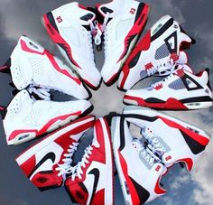 Jordan Shoes I love red white and black together!