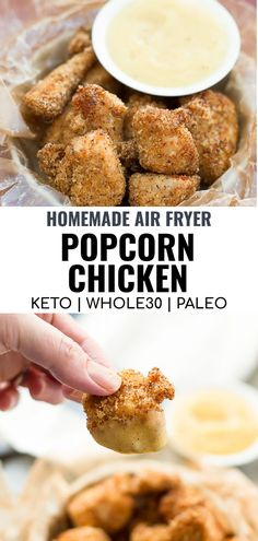 This easy recipe for Homemade Air Fryer Popcorn Chicken without breadcrumbs is the best way to enjoy popcorn chicken. The ingredients are healthy and gluten free as well as suitable for keto or Whole30 diets. You can even air fry frozen popcorn chicken quickly for a crispy outside and tender and juicy inside. Use with air fryer or Ninja Foodi!