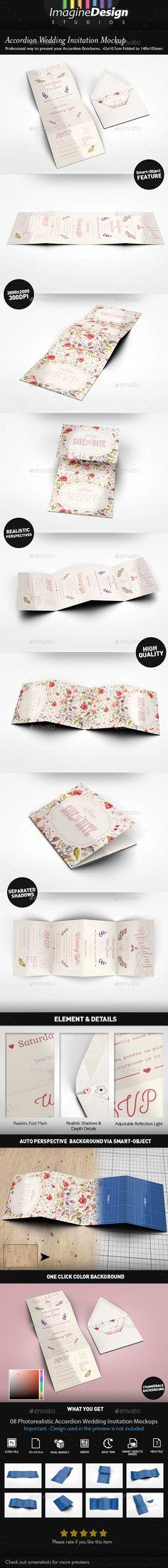 Accordion Wedding Invitation Mockup — Photoshop PSD #accordion fold #invitation mockup • Download ➝ https://graphicriver.net/item/accordion-wedding-invitation-mockup/18765505?ref=pxcr