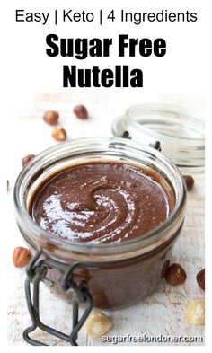 """Learn how to make own sugar free nutella in 3 simple steps! This easy recipe requires only 4 ingredients and a blender. The taste? SO much better than the """"real thing"""" and seriously nutritious - plus it keeps your blood sugar levels stable. Low Carb Sweets, Low Carb Desserts, Healthy Sweets, Low Carb Recipes, Healthy Deserts, Healthier Desserts, Sugar Free Desserts, Dessert Recipes, Breakfast Recipes"""