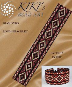 Bead loom pattern Diamonds ethnic inspired LOOM bracelet cuff