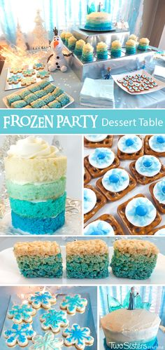 Our Disney Frozen Dessert Table was both filled with yummy Frozen-themed sweets for our Frozen Birthday Party guests and also a sparkling and spectacular party decoration.  For more great Frozen Party Ideas follow us at http://www.pinterest.com/2SistersCraft/