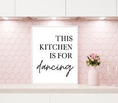 Pink Kitchen Walls, Pink Kitchen Decor, Printable Quotes, Printable Art, Kitchen Humor, Funny Kitchen, Kitchen Art Prints, Painted Wooden Signs, Printing Websites