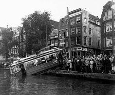 Tram in de Amstel Amsterdam Holland