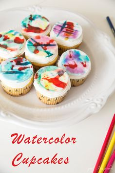 These Watercolor Cupcakes are fun for art parties/events!