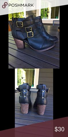 """Leather Strapped Ankle Boots Fun & flirty leather ankle boots! Super cute for spring, summer, or fall. The heel is just over 3"""", very comfortable for walking around downtown.   {Like new, worn once} Shoes Ankle Boots & Booties"""