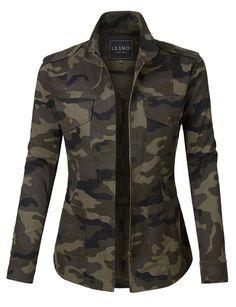 LE3NO Womens Long Sleeve Camo Print Military Anorak Jacket with Pockets