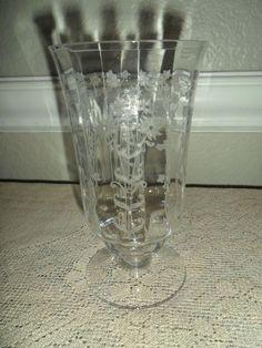 RARE FOSTORIA MANOR 5 5/8 INCH ICED TEA GLASS ETCHED FLOWERS VINES 1933 - 1943   Pottery & Glass, Glass, Glassware   eBay!