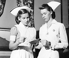 When nurses wore starched white aprons, caps and pins. (I remember my mom starching her nursing cap(s), it was time consuming yet she never complained. It was important to her to be clean when she walked into the hospital down to her polished white shoes, no matter what her shift might bring. (ADHP))