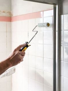 You can save a lot of money with DIY home improvement projects on your own. Many home improvement projects can be done by anyone with the average homeowner. Painting Bathroom Tiles, Painting Tile Floors, Painting Shower, Painting Over Tiles, Ceramic Tile Bathrooms, Painting Tile Countertops, Painting Ceramic Tiles, Ceramic Floor Tiles, Easy Home Decor
