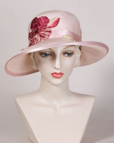 0502UHSI Upturned Helena, sisal straw, pale rose with berry