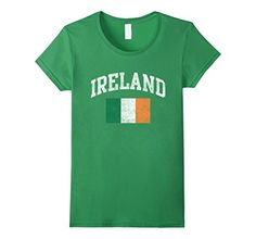 Vintage Ireland Irish Flag Green St. Patrick's Day T-Shirt  Cool vintage weathered distressed green t-shirt for St. Patrick's day with Ireland and Irish flag in green, white and orange.  Great to wear on Saint Patrick's day or anytime, available in unisex mens, womens, kids and boys.  Lightweight, Classic fit, Double-needle sleeve and bottom hem