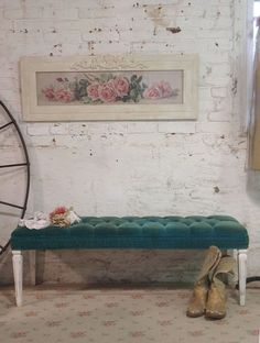 RESERVED for CLAIRE Painted Cottage Chic Shabby Vintage Tufted Bench