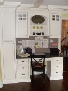 Computer desk on pinterest kitchen desks built in desk for Built in desk in kitchen ideas