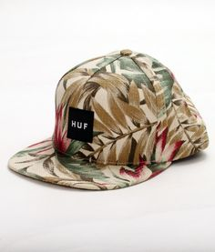 HUF Waikiki Box Logo Snapback Tan Size: OSZ Material: Cotton Linen The HUF Waikiki Box Logo Sanpback hat as a Tan colorway with all-over floral waikiki graphics and a HUF box logo in black with white text at the front. Consignment Online, Box Logo, Huf, Snap Backs, Driftwood, My Favorite Things, Logos, Sneakers, Floral