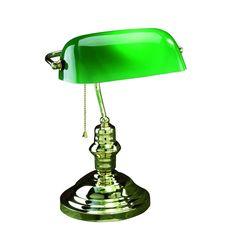 Lite Source Banker 1-Light Desk Lamp (Polished Brass with Green shade), Gold (Glass)