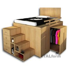 Bedroom Design: Enchanting Bedroom Storage Design With Cool Space Saving Beds Cool Loft Beds, Bunk Beds With Stairs, Small Room Design, Bed Design, House Design, Door Design, Small Rooms, Small Apartments, Small Spaces