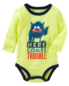 Crafted with soft cotton jersey and original graphics, these OshKosh bodysuits are the ticket to a fun-filled outfit!
