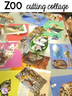 Zoo magazine cutting collage for a zoo theme. Desert art FREEBIE. Prefect for preschool, pre-k, and kindergarten.