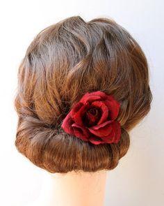Red Rose Hair Flower clip - Bridesmaids in Red - Wedding headpiece - Silk flower - Bridal - Red wedding