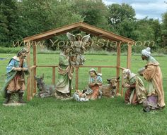 Outdoor Nativity Scene with Wooden Manger - Pre-Order 2014