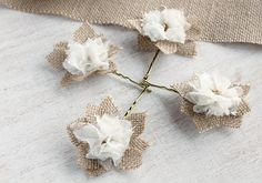Burlap Bridal Bobby Pins Bridesmaid Hair Flowers by HandyCraftTS, $19.80