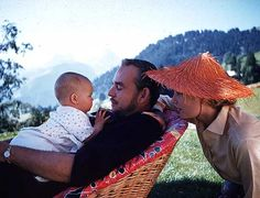 The happy Grimaldis in Gstaad, Switzerland. Photo by Howell Conant. 1957.