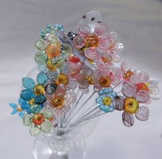 Bouquet of Tiny Glass Flowers on Tiny Wires