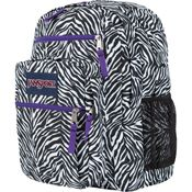 zebra backpack with purple zippers