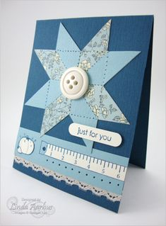 Stampin' Up! ... hand crafted quilt card ... monochromatic blues ... star patch design ... luv it!