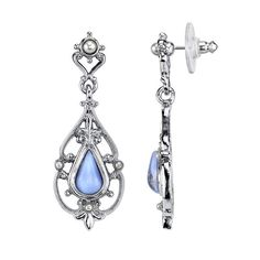 Inspired by the late Victorian period, these elegant earrings feature a teardrop imitation blue moonstone set in a beautifully detailed silver-tone filigree frame. Simulated pearl accents complete this stylishly feminine look. Presented in an elegant Downton Abbey gift box.