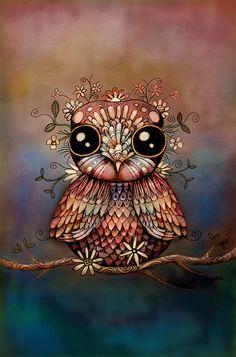 Little Rainbow Flower Owl Digital Art  - by Karin Taylor