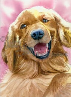 Golden Moment is an Open Edition Giclee Art Print from a watercolor featuring a very happy dog greeting its owner. Golden Retrievers are lovable,