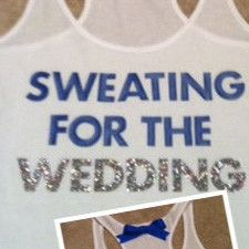 Sweating for the Wedding in Blue Work-out Tank Top