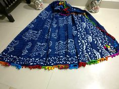 Handblock printed mul mul cotton sarees with blouse piece and pom pom lace