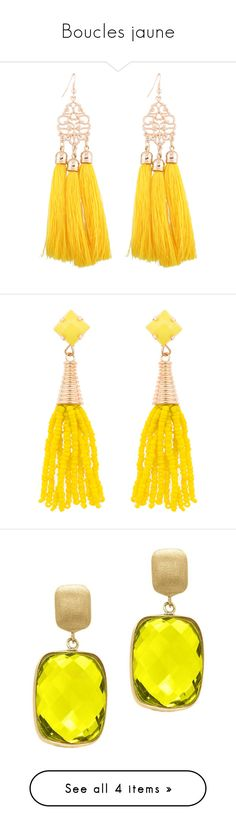 """Boucles jaune"" by liligwada ❤ liked on Polyvore featuring jewelry, earrings, zaful, yellow tassel earrings, fringe tassel earrings, yellow jewelry, yellow drop earrings, tassle earrings, beading jewelry and beads jewellery"