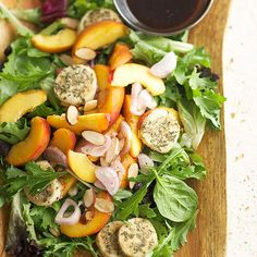 The best part about this Stone Fruit Salad? The toasty goat cheese coins look and taste gourmet, but the whole dish is ready in under 30 minutes. Try more salads: http://www.bhg.com/recipes/healthy/quick-and-healthy-salad-recipes/ #myplate