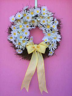 "Lighthearted White Daisy Spring Wreath- Twig Moss Wreath 18""- $74.00"