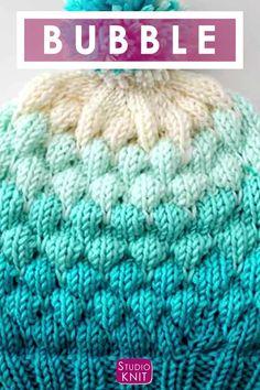 Bubble Stitch Beanie Hat Knitting Pattern by Studio Knit. Bubble Stitch Beanie Hat Knitting Pattern by Studio Knit.,Studio Knit Knit up this beautiful Bubble Stitch Beanie Hat with Knitting Pattern and video tutorial by. Knitting Videos, Knitting For Beginners, Easy Knitting, Knitting Stitches, Knitting Patterns Free, Knitting Projects, Stitch Patterns, Crochet Patterns, Diy Knitting Ideas