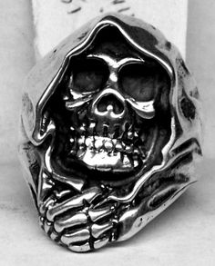 GRIM REAPER Skull Ring Sterling Silver Free Shipping by oldtrekkie, $95.00