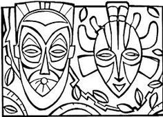 african mask template coloring for kids on a region in the