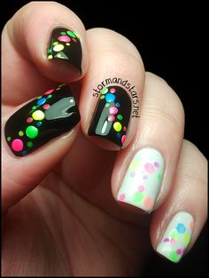 storm and stars: Neon Polkadots In A Candy Land. I love the black fingers.