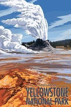 Castle Geyser - Yellowstone National Park - Lantern Press Poster