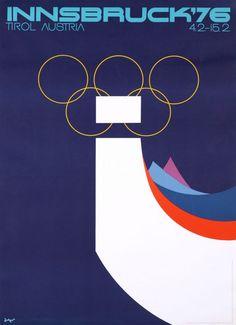 Official poster for the Innsbruck Olympic Winter Games 1976 in Tirol, Austria.