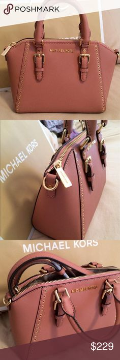"""New Michael Kors Ciara Grommet New with tags. Antique Rose saffiano leather with gold tone hardware satchel.  Crossbody/shoulder strap is included with 24"""" drop.  Size us approximately 11 x 8 x 4.5"""" Michael Kors Bags Satchels"""