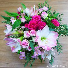 Bouquet romantique, roses Layla, roses mimi eden et amaryllis par Aquarelle.com